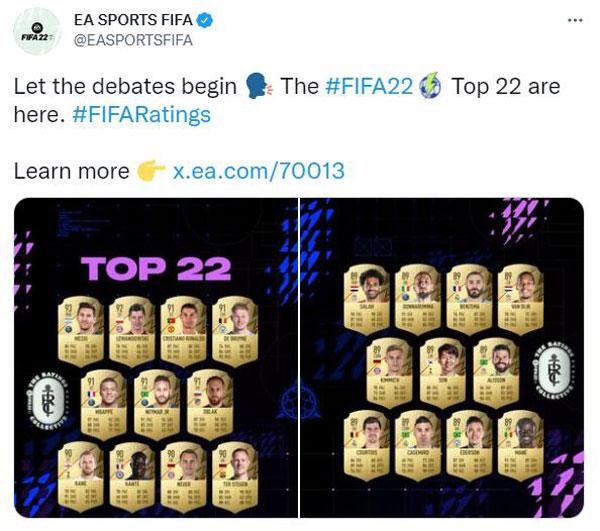 《FIFA 22》官推截图